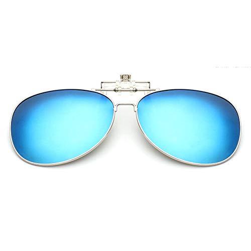 Aviator Clip lunettes l'extérieur soleil lunettes Pêche Lentille de up Polarisation Des Conduite Hzjundasi Flip on Bleue pour Glace Protection Mixte UV400 0p6qw5