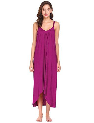 Modfine Vestido de Noche Sólido del Dobladillo Irregular del Dobladillo de la Correa de Espagueti de Las Mujeres Rosa Roja