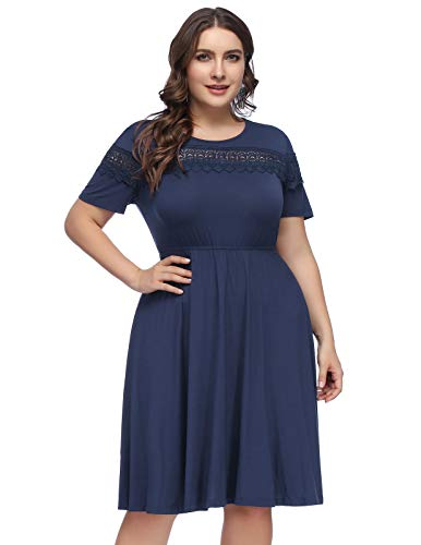 Hanna Nikole Women's Plus Size Lace Chiffon Ruffled Midi Cocktail Party A-line Skater Dress (HN64 Navy Blue, 24W)