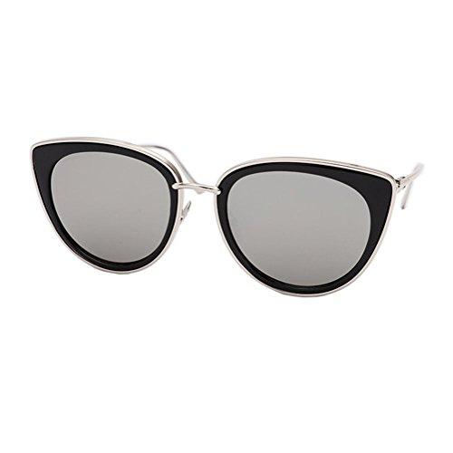 mujer gafas Gafas personalidad Alger sol redonda gafas Mercury sol de violet Frame retro tide de White Silver lavender cara AtwA8nqdx