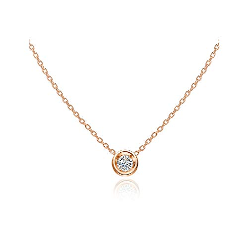 S.Leaf Cubic Zirconia Necklace Solitaire Pendant Sterling Silver Necklace for Women (rose gold)