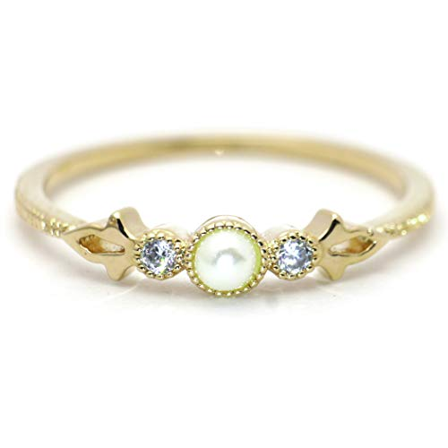 (Excelsia 'Fleur de Lis' 14K Yellow Gold-Plated Dainty CZ Ring with Simulated Pearl, Size 5)