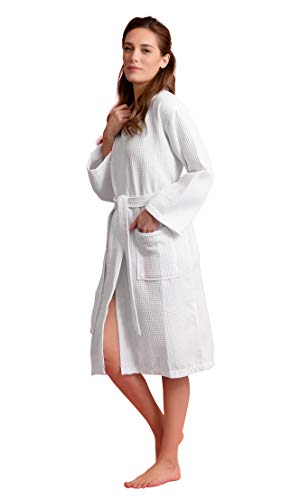 - Luxurious Soft Absorbent Lightweight Long Kimono Waffle Spa Bathrobe for Women (XX-Large, White)