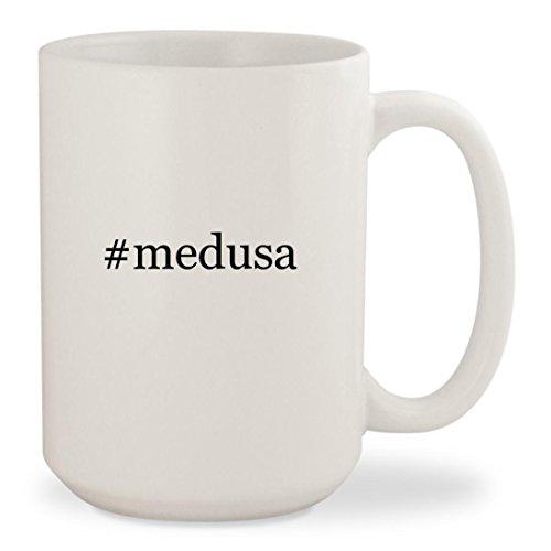 #medusa - White Hashtag 15oz Ceramic Coffee Mug - Versace Head Medusa Sunglasses