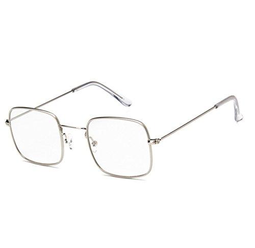 Gafas Ketamyy Transparente Unisexo Metal De Moda Sol Marco Marinas De De Blanco Marco Películas Sol Retro De Gafas Cuadradas Plateado rqrXgBP