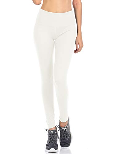 VIV Collection Signature Leggings Yoga Waistband Soft w Hidden Pocket (S, White)