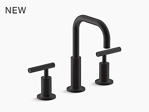 KOHLER Purist K-14406-4-BL Widespread Bathroom Sink Faucet with Metal Drain Assembly in Matte Black ()