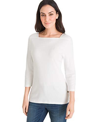 (Chico's Women's Supima Cotton Side-Button Bateau-Neck Top Size 12/14 L (2) White)