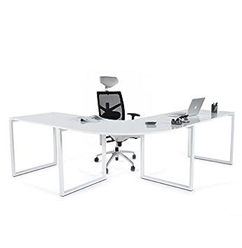 Quai 56 Bureau D Angle Blanc Laque President Dimensions 230x200x70cm Hauteur 76cm