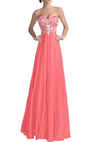 Vienna Bride Elegant Sweetheart A-Line Chiffon Bridesmaid Wedding Party Dresses -16-Pink