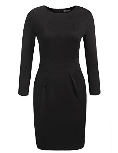 ACEVOG Women's Retro 3/4 Sleeve Office Work Business Party Bodycon Pencil Dress,Black,XXL