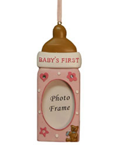 Babys First Baby Bottle Picture Frame Ornament for Girls [7091429GIRL] (Northstar Ornament)