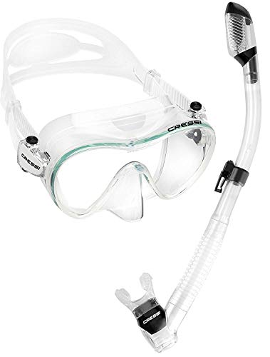 Cressi Scuba Diving Snorkeling Freediving Mask Snorkel Set, Clear Transparent