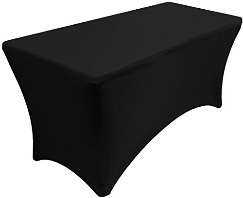 Banquet Tables Pro Black 30 Inch wide x 48 inch long, 4 foot Stretch Spandex Tablecover by Banquet Tables Pro