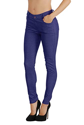 Ladies Blend - Fit Division Women's Jean Look Cotton Blend Jeggings Tights Slimming Full Lenght Capri and Classic Bermuda Shorts Leggings Pants S-3XL (S US Size 2-4, FDJN827-DBL)