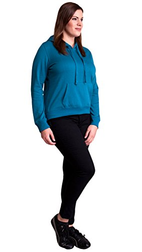 Teal Blue Ladies Plus Size Soft Drawstring Hoodie Kangaroo Pocket
