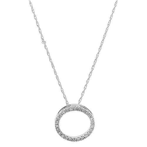 DazzlingRock Collection 0.10 Carat (ctw) 18K White Gold Round White Diamond Circle Pendant (Silver Chain Included) 1/10 - Pendant Gold Circle White