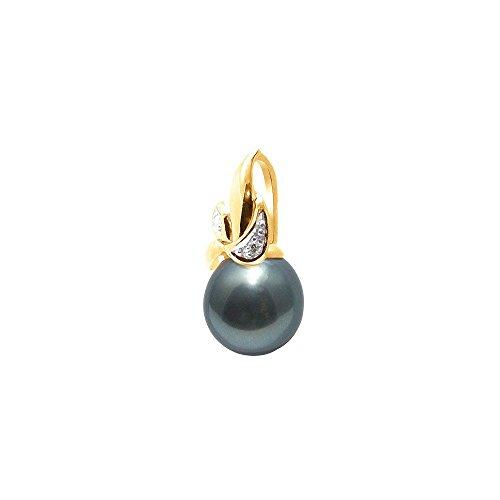Pendentif Perle de Tahiti et Or Jaune 375/1000 et Diamants -Blue Pearls-BPS K224 W