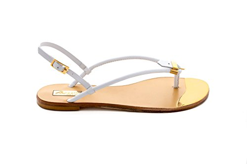 Antonio Raggini Open Toe Sandal with Gold Plated Toe Point White N6q7I4V3qy