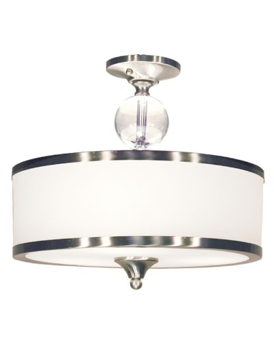 Z-Lite 308SF-BN Cosmopolitan Three Light Semi Flush Mount, Metal Frame, Brushed Nickel Finish and White Shade of Glass Material