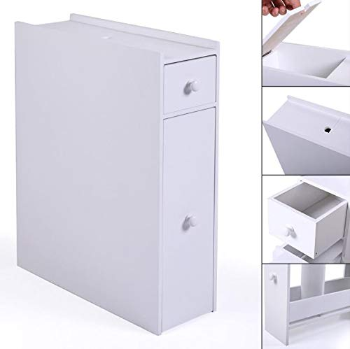 Cypress Shop White Slim Bathroom Floor Storage Cabinet Towel Accessories Organizer with 2 Drawers Toilet Rack