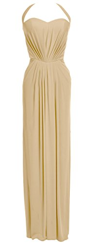 MACloth Women Halter Jersey Long Formal Evening Prom Dress Wedding Party Gown Champagne