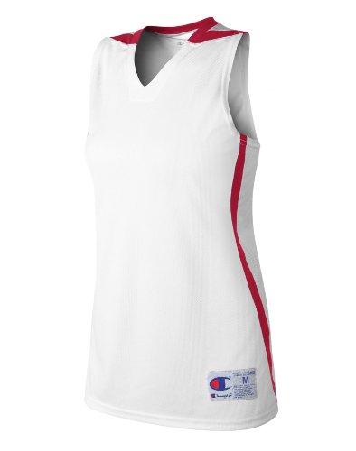 Kvinna Högsta Dubbel Torr Basket Jersey Vit / Scarlet