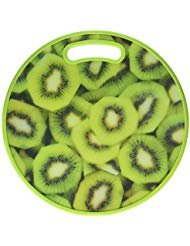 Round Kiwi Print Cutting Board, Large, Multicolor, For Meat & Veggie Prep, Serve Bread, Crackers & Cheese