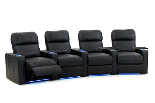 Octane Turbo XL700 Row of 4 Seats, Curved Row in Black Bonded Leather with Power Recline by Octane Seating