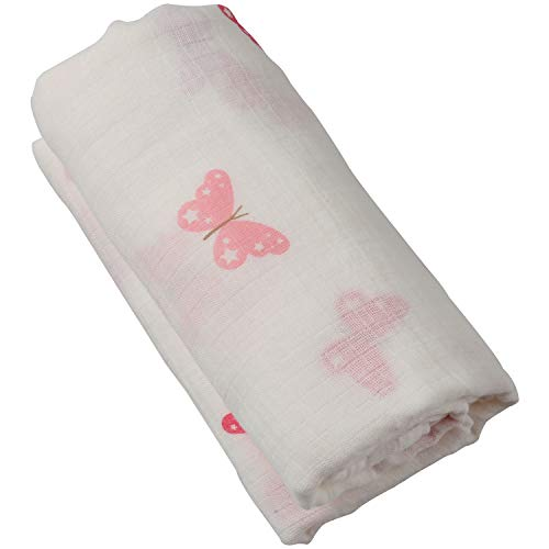 Boy and Girl 100% Cotton Swaddle Blanket, Cute Baby Bamboo Muslin Blankets for Large Size 47 x 47 inches (Pink Butterfly)