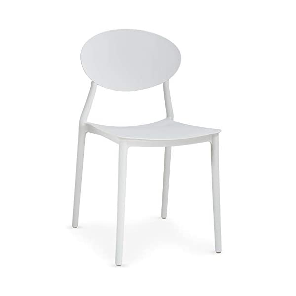Menzzo Balagan Chaise empilable, Polypropylène, Blanc, Taille Unique
