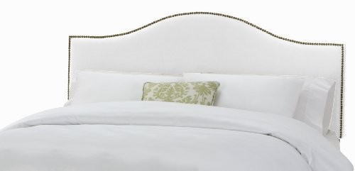 Skyline Furniture North Avenue Full Velvet-Upholstered Headboard with Nail-Button Trim, White