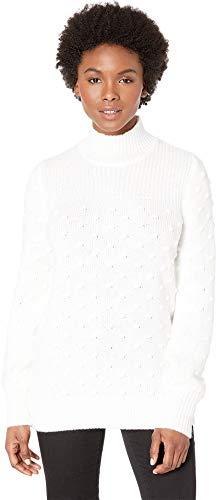 Calvin Klein Women's Mock Neck Popcorn Sweater Soft White Small