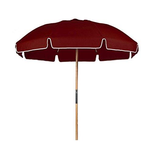 7.5 ft.Steel Commercial Grade Beach Umbrella Ash Wood Pole (Burgundy, 7.5 ft Canopy – Add Carry Bag)