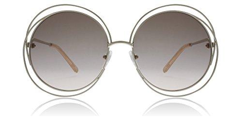 Chloe CE114S 724 Gold / Peach Carlina Round Sunglasses Lens Category 1 Size - Chloe Sunglasses Carlina