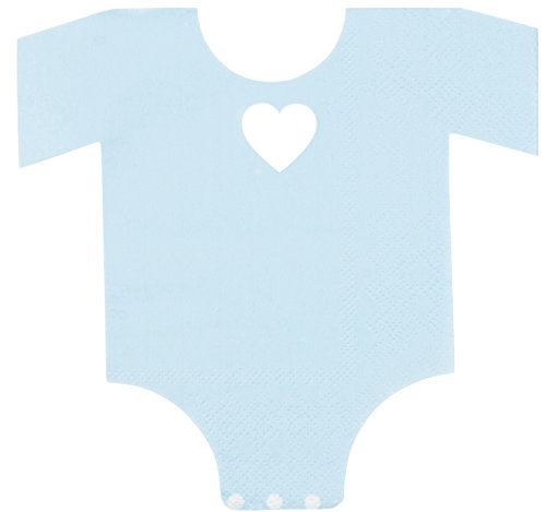 Baby Shower Die Cut - Blue Panda 50-Pack Die-Cut Light Blue Paper Baby Boy Shower Napkins, Boys One Piece Outfit Design