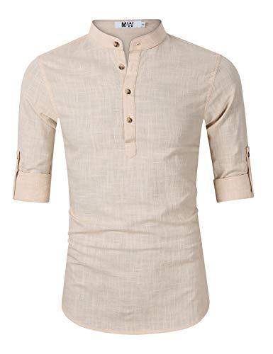 d71aca640f01 MrWonder Men s Casual Henley Neck Short Sleeve Daily Look Linen Shirts  Solid Beach Shirt