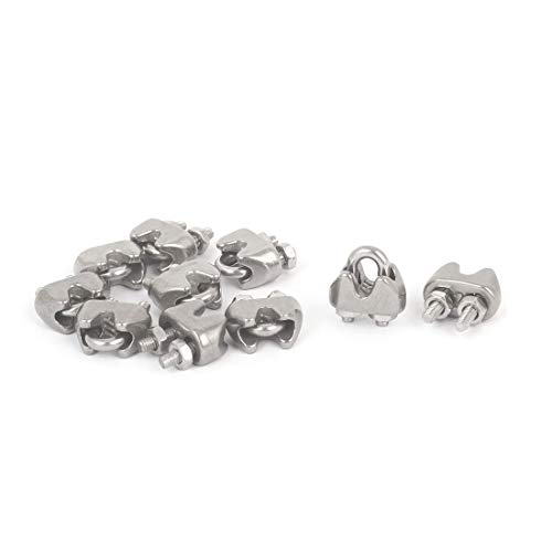 12pcs TOUHIA 304 Stainless Steel Wire Rope Cable Clip M2 2MM Wire Rope cable Clip U-Shape Bolt Saddle Clamp