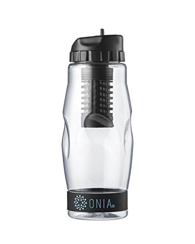 Onia Water Filter Bottle Fluoride, Chlorine, Lead, THMs Filter 40 Gallon Filter, 20 oz, BPA Free, Kids and Adult Friendly Size