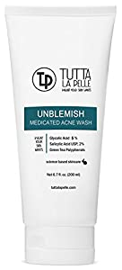 UNBLEMISH 5-2 AHA+BHA Medicated ACNE Cleanser - Glycolic Acid 5% / Salicylic Acid 2% - ACNE Wash, 6.7 oz