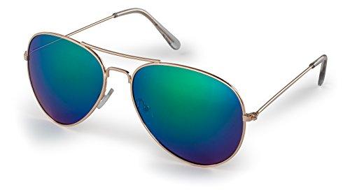 Stylle Aviator Sunglasses, Gold Frame With Green Lenses, 100% UV ()