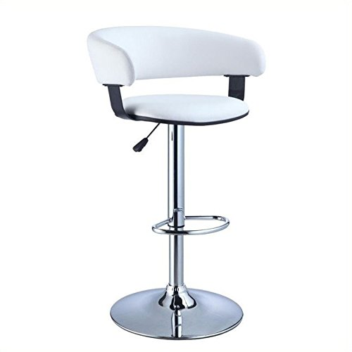 Powell Faux Leather Barrel and Chrome Adjustable Height Bar Stool, White - Powell Leather Bar Stools