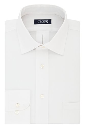 (Chaps Men's Dress Shirt Regular Fit Stretch Collar Solid, White 18