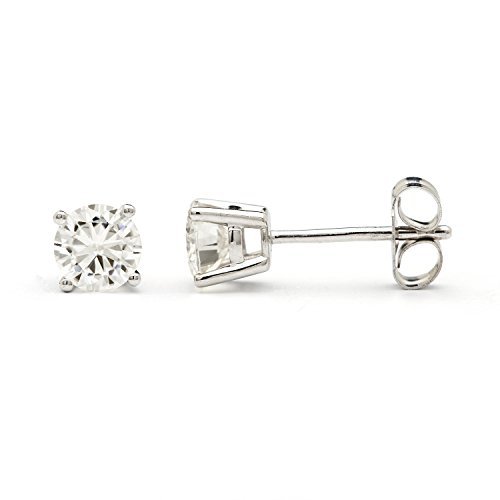 Created Moissanite Earring Studs (4.5mm Round Brilliant Cut Moissanite Sterling Silver Stud Earrings, 0.66cttw DEW By Charles & Colvard)