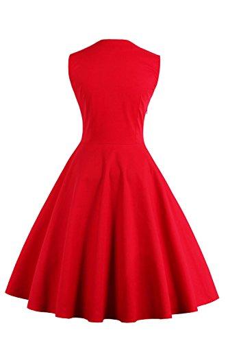 Vestido de mujer unicolor con lunares estilo retro casual a los años 50 cuello cuadrado sin mangas falda plisada tela fina de Babyonlinedress Rojo