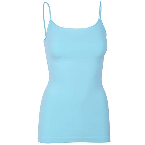 Womens Soft Stretchy Solid Color Essential Spaghetti Strap Long Tank Top Cami Candy Blue