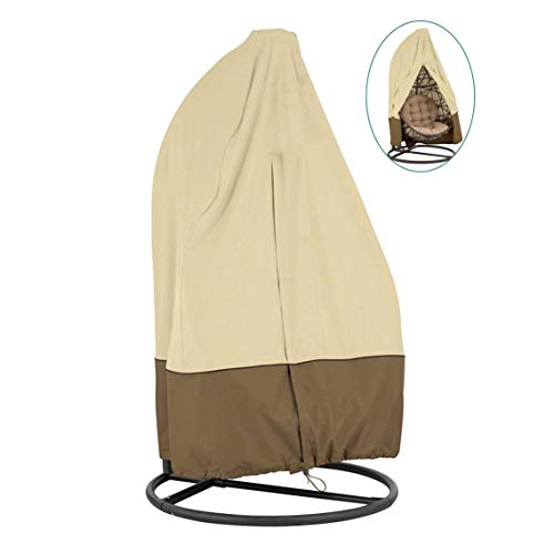 skyfiree Patio Hanging Egg Chair Cover with Zipper Double 91X80 inches Waterproof Outdoor Pod Chair Swingasan Cover Garden Wicker Swing Egg Chair Cover (Beige&Coffee) (Wicker Chair Hanging Egg Offers)