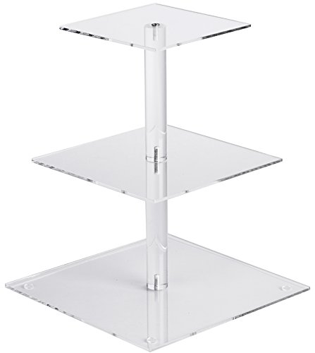 YestBuy 3 Tier Maypole Square Wedding Party Tree Tower Acrylic Cupcake Display Stand 3 Tier Square(6