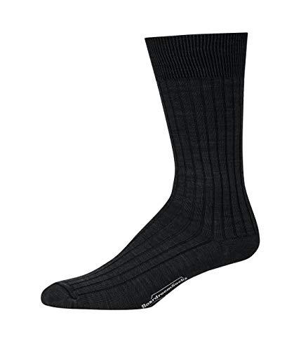Boardroom Socks Men's Mid Calf Merino Wool Ribbed Dress Socks Black, 43689