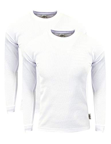 (Fitscloth TC01_M Thermal Long Sleeve Crewneck Waffle Shirt White M 2PK)